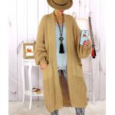 Gilet long grosse maille camel WATSON Gilet long femme