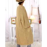 Gilet long femme grandes tailles grosse maille camel WATSON Gilet long femme