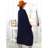 Gilet long femme grandes tailles grosse maille bleu marine WATSON Gilet long femme