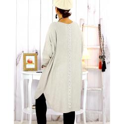 Robe pull hiver dentelle perles beige TULUM Robe pull femme