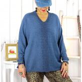Pull strass col V bleu jean MEKONG Pull femme grande taille