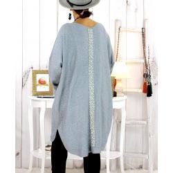 Robe pull hiver dentelle perles gris TULUM Robe pull femme