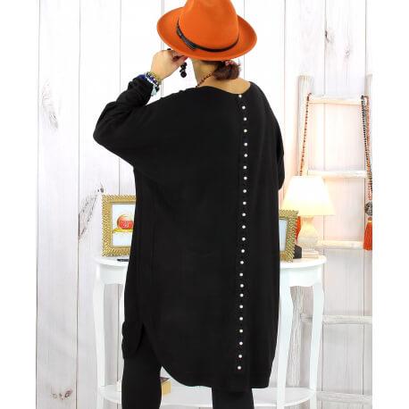 Robe pull hiver dentelle perles noir TULUM Robe pull femme