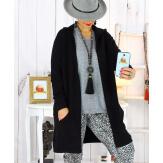Gilet long capuche poches tricot noir ANKARA Gilet long femme