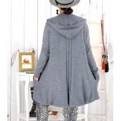 Gilet long capuche poches tricot gris ANKARA Gilet long femme
