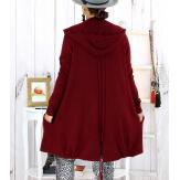 Gilet long capuche poches tricot bordeaux ANKARA Gilet long femme