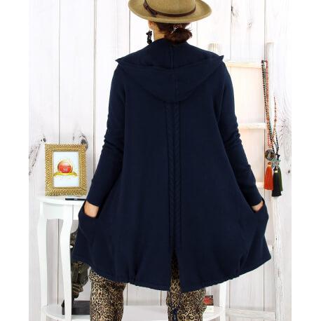 Gilet long capuche poches tricot marine ANKARA Gilet long femme