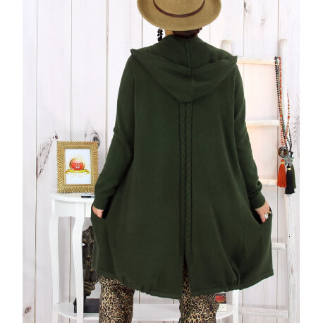 Gilet long capuche poches tricot kaki ANKARA Gilet long femme