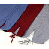 Gilet long capuche poches tricot bleu jean ANKARA Gilet long femme
