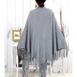 Grand châle hiver strass franges gris SAUMUR Accessoires mode femme
