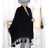 Grand châle étole pompons strass noir ARTIC Accessoires mode femme