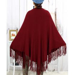 Grand châle hiver strass franges bordeaux SAUMUR Accessoires mode femme