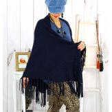 Grand châle hiver strass franges marine SAUMUR Accessoires mode femme