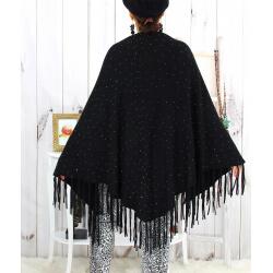 Grand châle hiver strass franges noir SAUMUR Accessoires mode femme