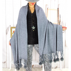 Grand châle étole pompons strass gris ARTIC Accessoires mode femme