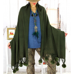Grand châle étole pompons strass kaki ARTIC Accessoires mode femme