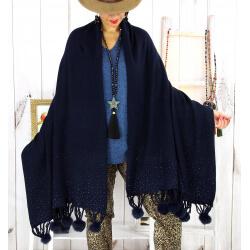 Grand châle étole pompons strass bleu marine ARTIC Accessoires mode femme
