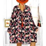 Robe tunique bohème fleurs cactus noire NONA Robe tunique femme grande taille