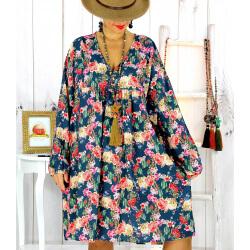 Robe tunique bohème fleurs cactus canard NONA Robe tunique femme grande taille