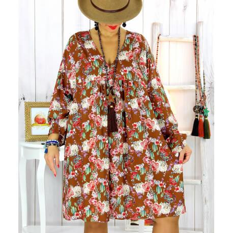 Robe tunique bohème fleurs cactus camel NONA Robe tunique femme grande taille