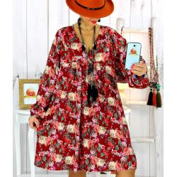Robe tunique bohème fleurs cactus bordeaux NONA Robe tunique femme grande taille