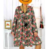 Robe tunique bohème fleurs cactus kaki NONA Robe tunique femme grande taille