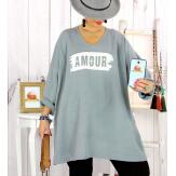 Tunique longue sweat grande taille gris JANIS Tunique femme grande taille