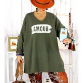 Tunique longue sweat grande taille kaki JANIS Tunique femme grande taille