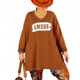 Tunique longue sweat grande taille rouille JANIS Tunique femme grande taille