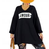 Tunique longue sweat grande taille noir JANIS Tunique femme grande taille