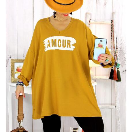 Tunique longue sweat grande taille moutarde JANIS Tunique femme grande taille