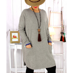 Pull tunique poches hiver taupe MALIK Pull femme grande taille