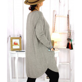 Pull tunique poches hiver MALIK taupe Pull femme grande taille