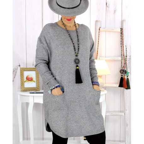 Pull tunique poches hiver gris MALIK Pull femme grande taille
