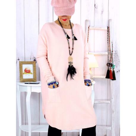 Pull tunique poches hiver MALIK rose Pull femme grande taille