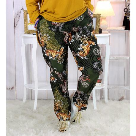 Pantalon femme grande taille stretch suédine kaki VOLTAIRE Pantalon femme grande taille