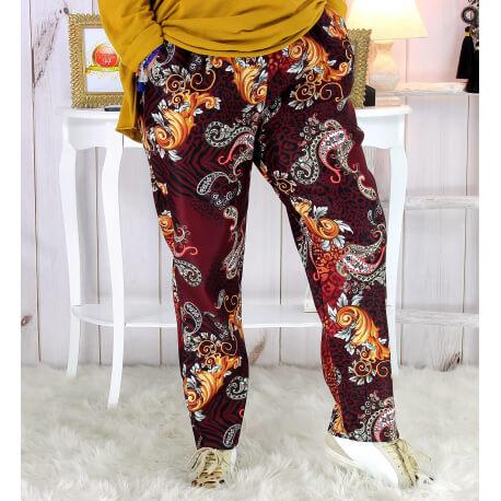 Pantalon femme grande taille stretch suédine bordeaux VOLTAIRE Pantalon femme grande taille