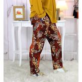 Pantalon femme grande taille stretch suédine rouille VOLTAIRE Pantalon femme grande taille