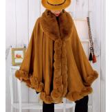 Cape poncho fourrure femme grande taille camel FJORD Cape femme grande taille