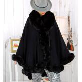 Cape poncho fourrure femme grande taille noir FJORD Cape femme grande taille