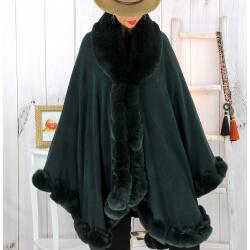 Cape poncho fourrure femme grande taille vert FJORD Cape femme grande taille