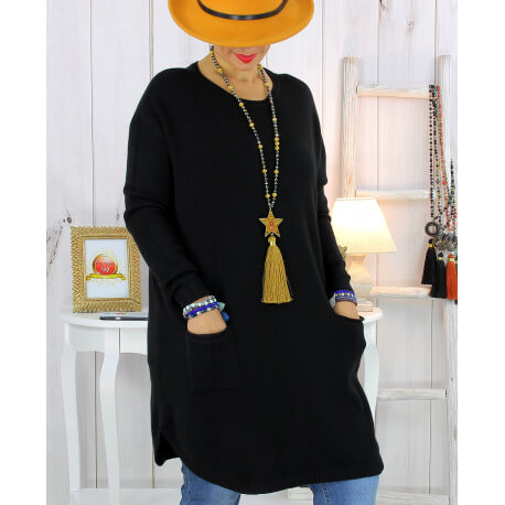 Pull tunique poches hiver MALIK noir Pull femme grande taille
