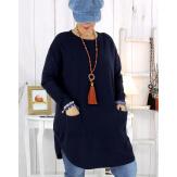 Pull tunique poches hiver MALIK bleu marine Pull femme grande taille