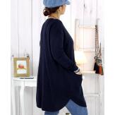 Pull tunique poches hiver bleu marine MALIK Pull femme grande taille