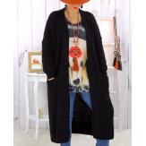Gilet long grosse maille alpaga noir ECLIPSE Gilet long femme