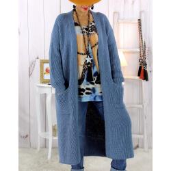 Gilet long grosse maille alpaga bleu jean ECLIPSE Gilet long femme