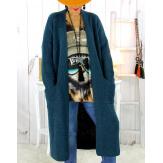 Gilet long grosse maille alpaga bleu canard ECLIPSE Gilet long femme