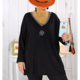 Pull tunique grande taille trèfle noir CANCALE Pull tunique femme