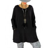 Pull tunique longue grande taille noir FLORIE Pull tunique femme