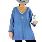 Pull tunique grande taille trèfle bleu jean CANCALE Pull tunique femme